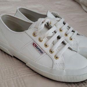 Superga patent embossed sneakers